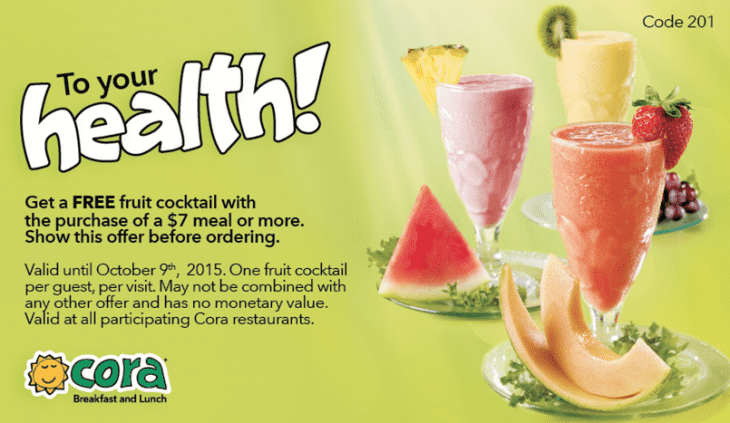 Cora restaurants canada promotional coupons get a free for Good friday hotel deals