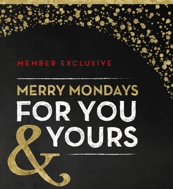 Starbucks canada merry mondays promotions special holiday for Good friday hotel deals