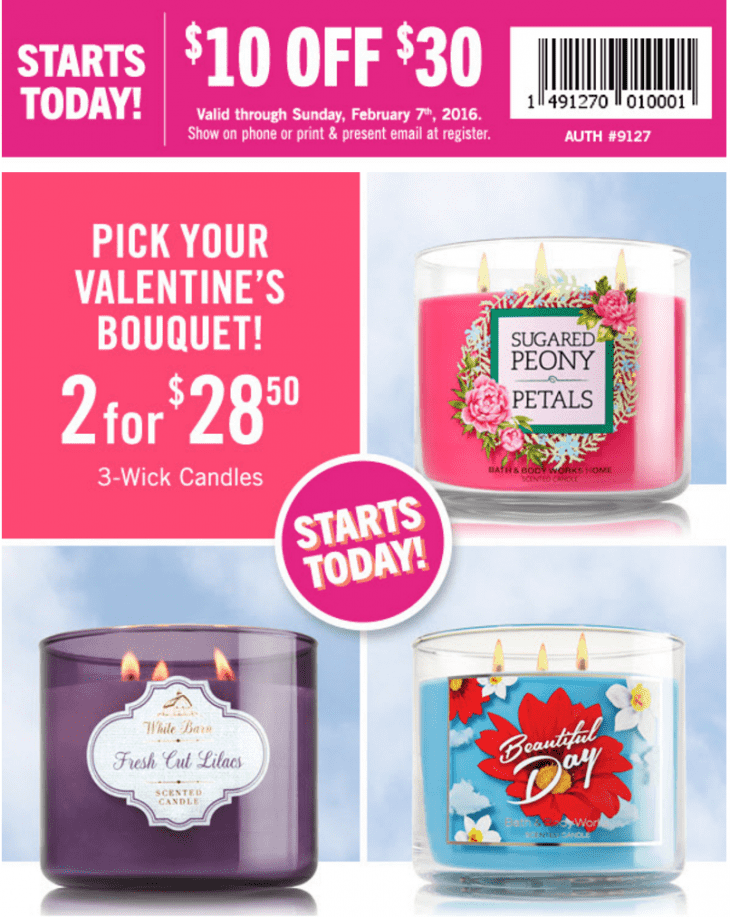 Bath & Body Works Canada Coupons & Deals: Save $10 Off $30 Purchase