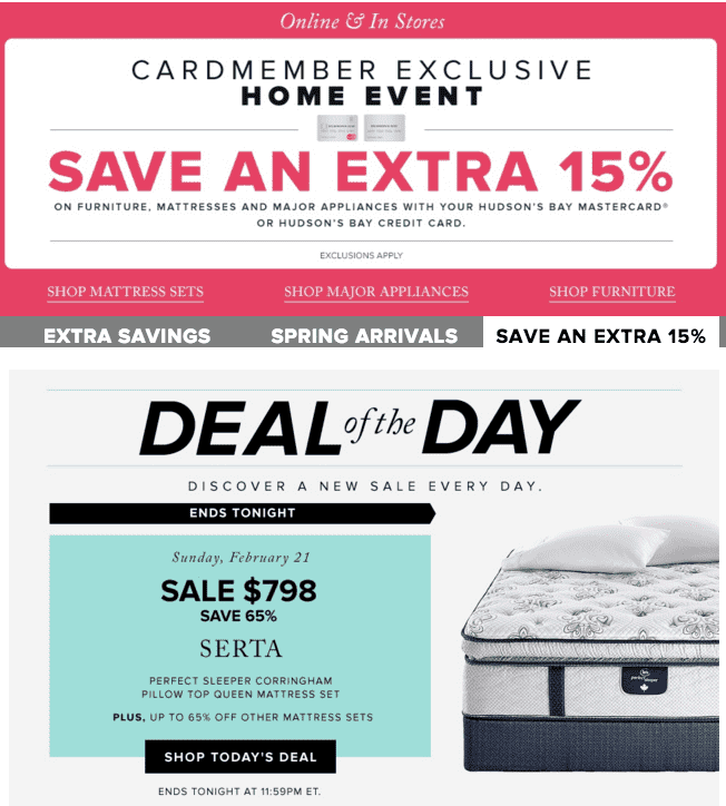 Hudson's Bay Canada Flash Sale: Save 65% Off Serta Perfect