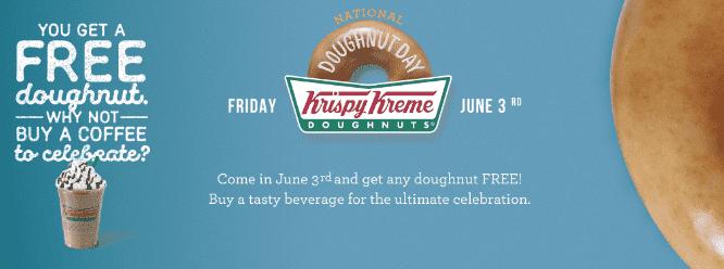 krispy kreme canada national doughnut day get a free. Black Bedroom Furniture Sets. Home Design Ideas