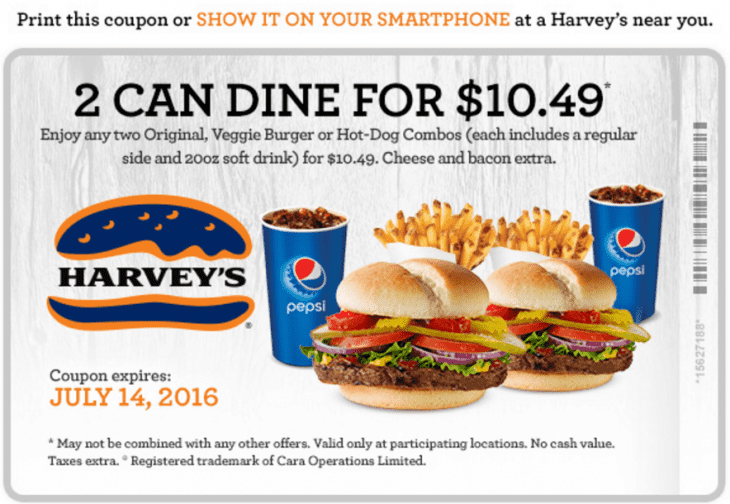 Harveys coupons 2 can dine