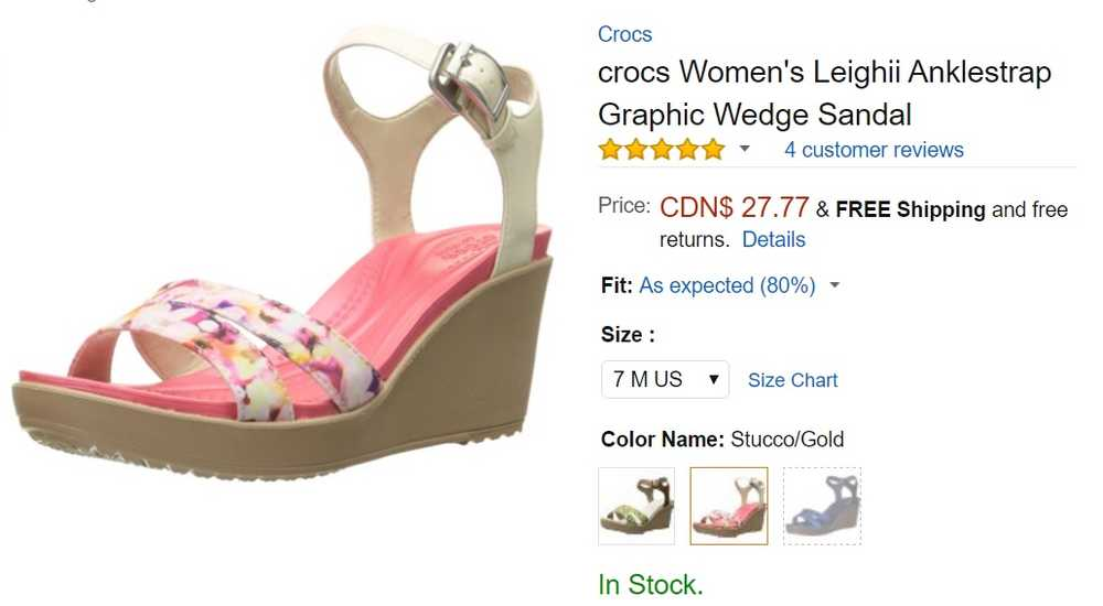 e806a3de6f5 Amazon Canada has new offer  Get Crocs Women s Leighii Anklestrap Graphic  Wedge ...
