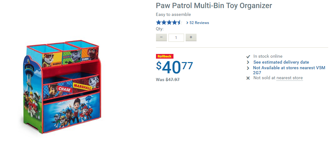 Paw Patrol Toy Organizer Bin Cubby Kids Child Storage Box: Walmart.ca Offers:Save 15% Paw Patrol Multi-Bin Toy