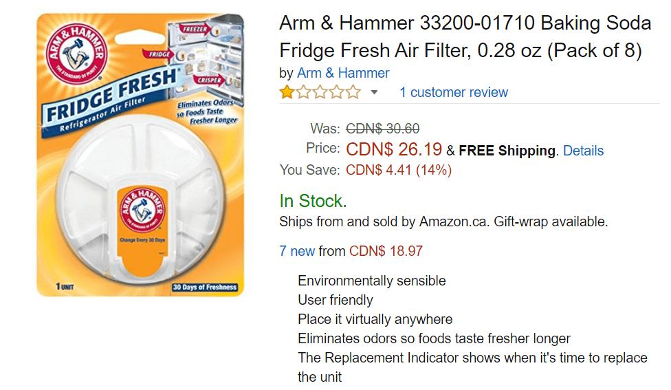 0.28 oz Pack of 8 Arm /& Hammer 33200-01710 Baking Soda Fridge Fresh Air Filter