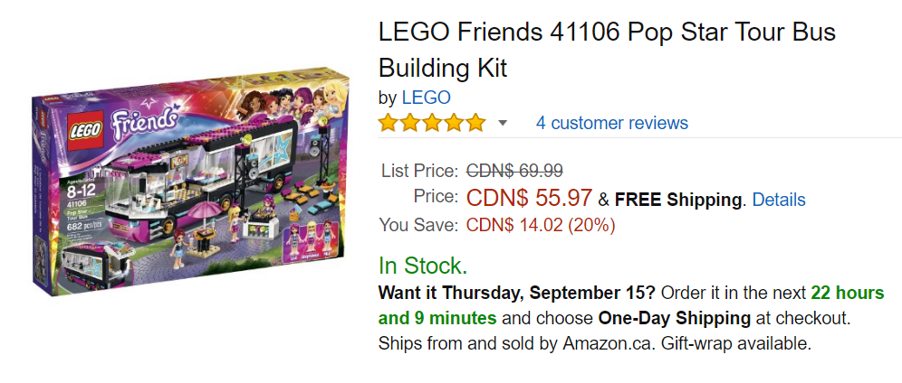 Amazon.ca Offers: Save 20% on LEGO Friends 41106 Pop Star ...
