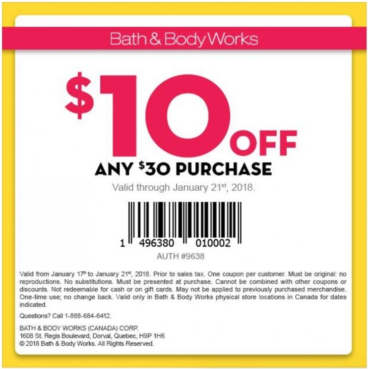 Bath & Body Works Canada Coupon