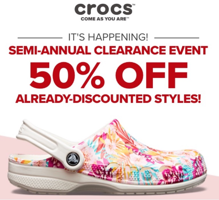 43bd2df2e Crocs Canada has a great Semi-Annual Clearance Sale available now that  includes  save an extra 50% off clearance styles. No promo code is required.