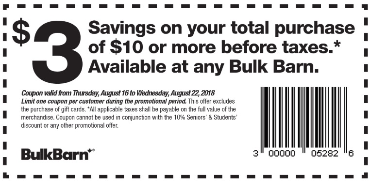 4e1bec67a240d Bulk Barn Canada New Coupons  Save  3 Off your Total Purchase of  10