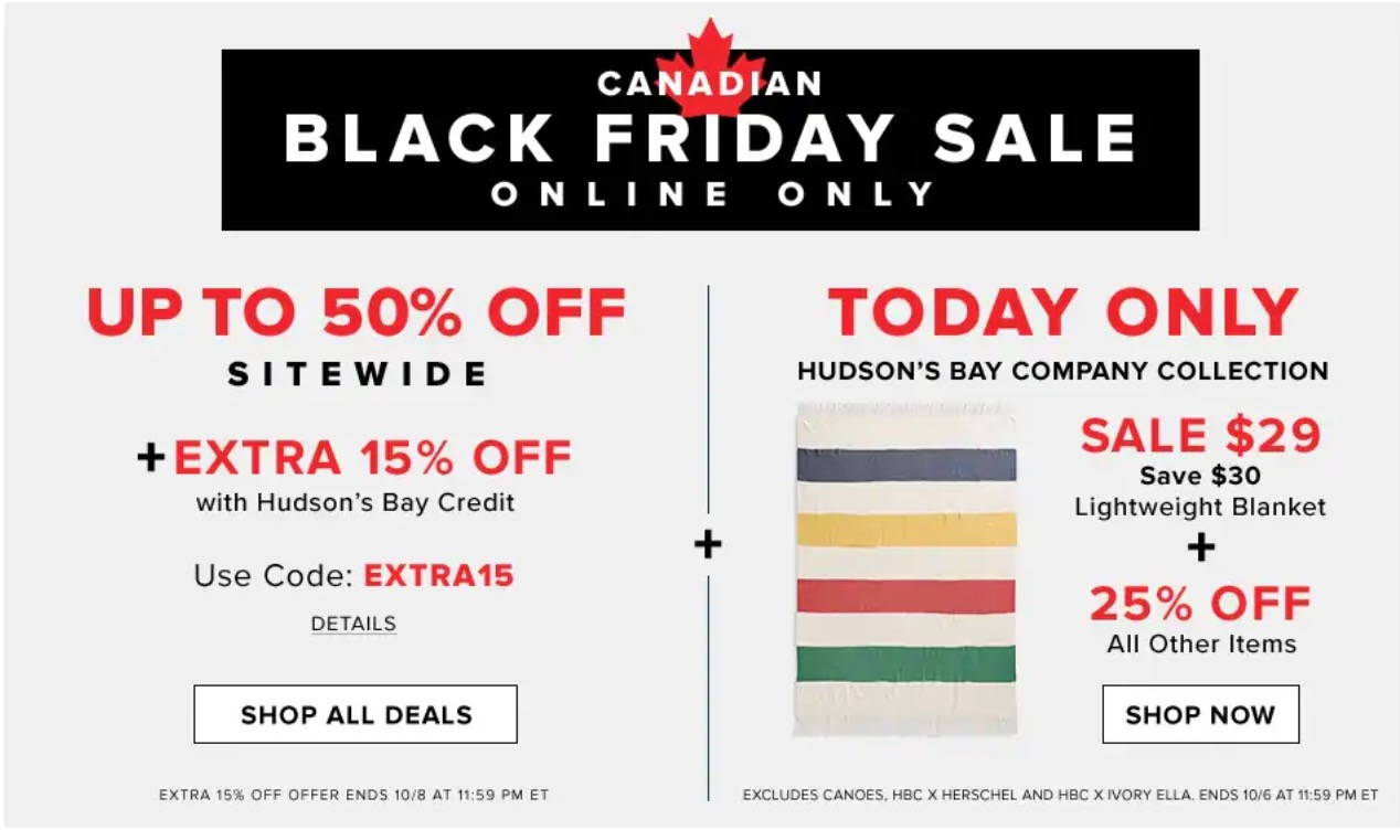 320dee9744da9e Hudson s Bay Canadian Black Friday Sale  Today
