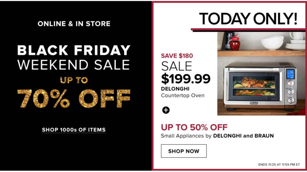 37b43da12 Hudson's Bay Canada Black Friday Weekend Sale: Up to 70% Off + FREE Shipping,  No Minimum + *Today Only* DeLonghi Oven for $199 (Save $180)