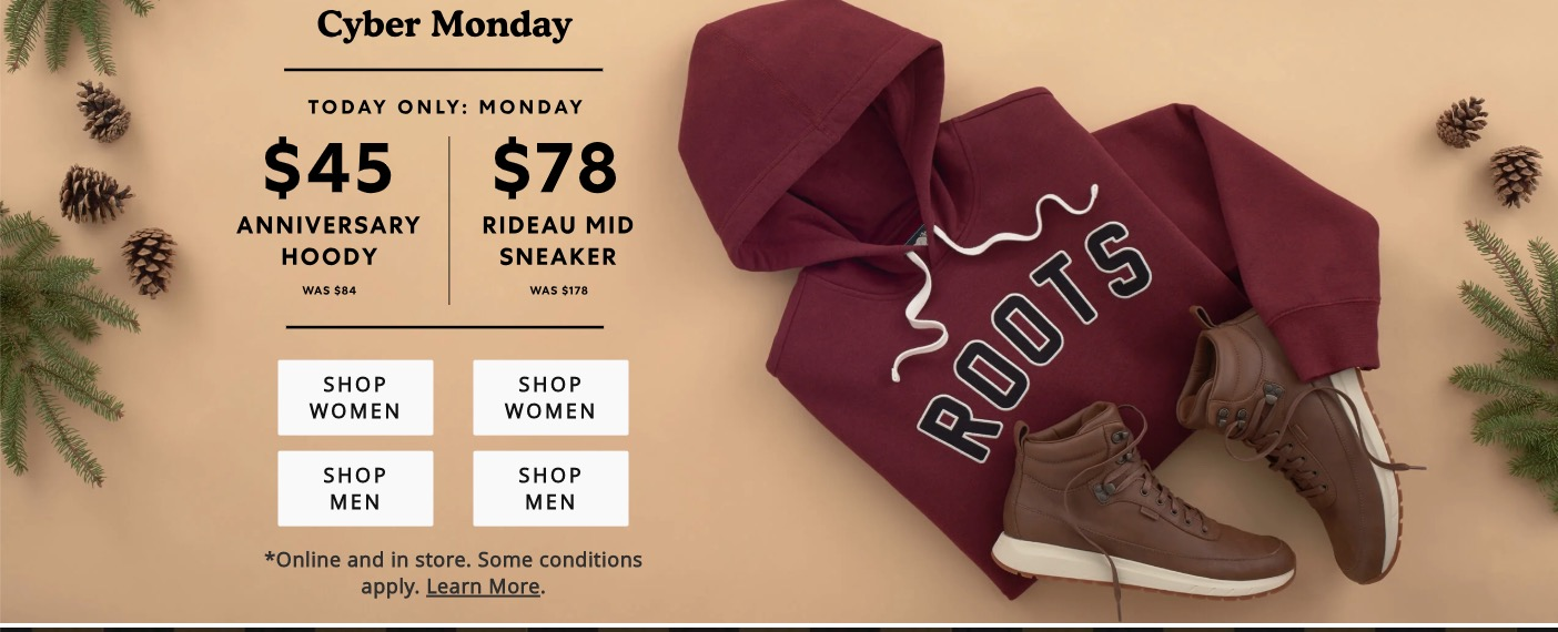 Roots Canada Cyber Monday Sale Save 30 Off Sitewide