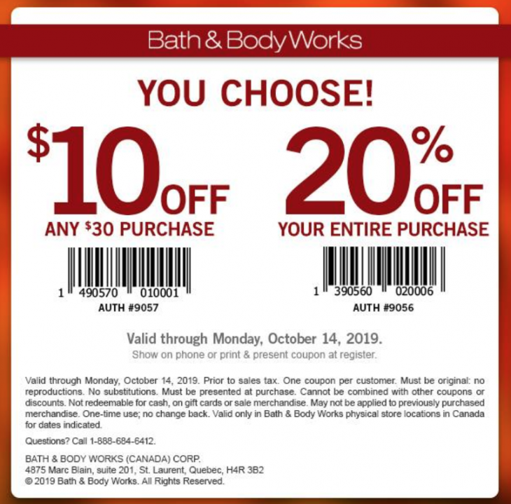 Bath & Body Works Canada Coupon: 20% Off or $10 Off Any ...