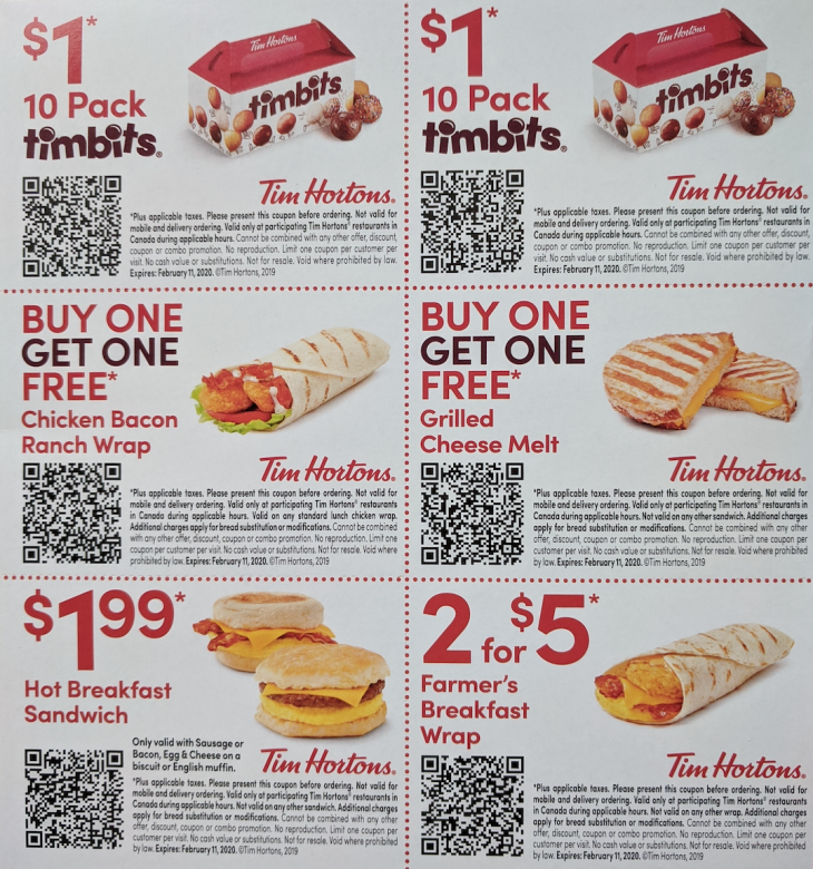 Tim Hortons Canada NEW Coupons: 10 Pack Timbits for $1 ...